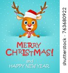 merry christmas background with ... | Shutterstock . vector #763680922