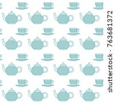 turquiose crockery pattern.... | Shutterstock .eps vector #763681372