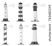 lighthouse  set of lighthouses  ... | Shutterstock .eps vector #763682245