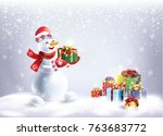 christmas snowy landscape with... | Shutterstock .eps vector #763683772