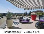 exteriors shots of a modern... | Shutterstock . vector #763685476