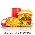 Tasty Hamburger And French...