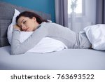beautiful girl sleeps in the... | Shutterstock . vector #763693522