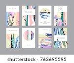 set of creative universal... | Shutterstock .eps vector #763695595