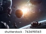 awesome galaxy in deep space.... | Shutterstock . vector #763698565