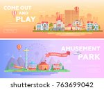 amusement park   set of modern... | Shutterstock .eps vector #763699042