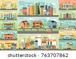 city life flat infographic... | Shutterstock .eps vector #763707862