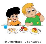 kid eating and talking with... | Shutterstock .eps vector #763710988