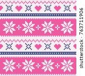 merry christmas wool knitted... | Shutterstock .eps vector #763711906
