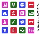 driving school icons. white... | Shutterstock .eps vector #763719286