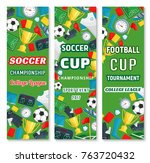 soccer college league banners... | Shutterstock .eps vector #763720432