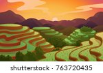chinese rice field terraces in... | Shutterstock .eps vector #763720435