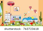 kids untidy and messy room.... | Shutterstock .eps vector #763723618