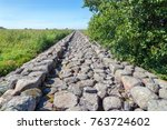 old stone mole  ainazi  latvia  ... | Shutterstock . vector #763724602