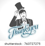 logo   thank you concept sign   ... | Shutterstock .eps vector #763727275