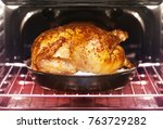 appetizing roast turkey and... | Shutterstock . vector #763729282