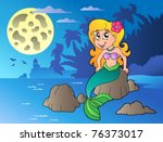 night seascape with cartoon... | Shutterstock .eps vector #76373017