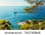 sea coast in lloret de mar ... | Shutterstock . vector #763740868