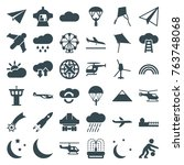 Set Of 36 Sky Filled Icons Suc...