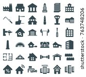 set of 36 building filled icons ... | Shutterstock .eps vector #763748206