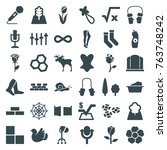 set of 36 pattern filled icons... | Shutterstock .eps vector #763748242