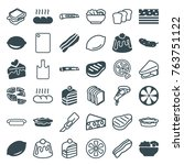 set of 36 slice filled and... | Shutterstock .eps vector #763751122