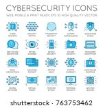 cyber security thin line icons... | Shutterstock . vector #763753462
