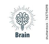 vector brain logo | Shutterstock .eps vector #763754098