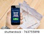 qr code scanning concept.hands... | Shutterstock . vector #763755898