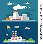 set vector blue factory... | Shutterstock .eps vector #763758376