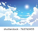 Vector Blue Sky Clouds. Anime...