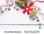 christmas decoration on bright... | Shutterstock . vector #763766335
