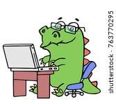 cute dinosaur working at the... | Shutterstock . vector #763770295