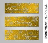 merry christmas banner with... | Shutterstock .eps vector #763773466