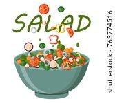 fresh vegetables salad vector... | Shutterstock .eps vector #763774516