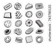 hand drawn set of cookies... | Shutterstock .eps vector #763780132
