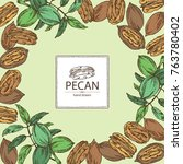 background with pecan  pecan... | Shutterstock .eps vector #763780402