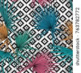 seamless pattern with image of... | Shutterstock .eps vector #763782772