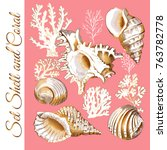 set of a gold sea shell and... | Shutterstock .eps vector #763782778