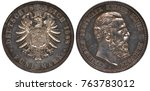 Small photo of Germany German Prussia Prussian silver coin 5 five mark 1888, eagle of old type with shield with eagle with shield on chest, crown with ribbon above, head of King Friedrich right, deep patina