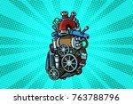 steampunk heart motor. pop art... | Shutterstock .eps vector #763788796