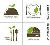 set of vector icons for vegan... | Shutterstock .eps vector #763795855