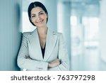 closeup portrait of smiling... | Shutterstock . vector #763797298