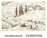 engraved hand drawn in old... | Shutterstock .eps vector #763805506