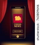 app for phone cinema. premiere... | Shutterstock .eps vector #763809646