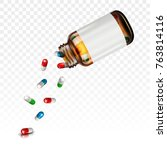 pills falling from a jar on a... | Shutterstock .eps vector #763814116