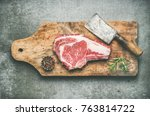 flat lay of raw prime beef meat ... | Shutterstock . vector #763814722