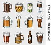 beer glass  mug or bottle of... | Shutterstock .eps vector #763819636