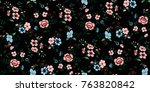 seamless floral pattern in... | Shutterstock .eps vector #763820842