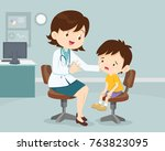 female doctor comforting her... | Shutterstock .eps vector #763823095